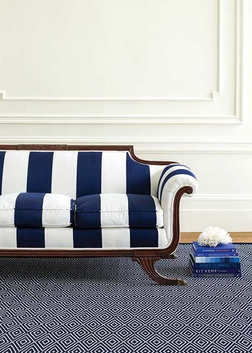 Blue & White Rug and Sofa