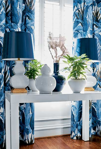 Lamps, Vases, and Drapes in blue & white