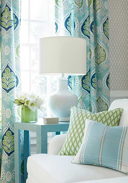 Fabrics in light blue and green.