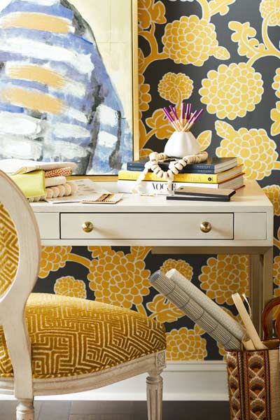 Picture of Vanguard furniture in yellow, gold, white, and blue.
